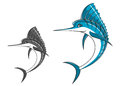Big blue marlin in cartoon style for mascot ot fishing sport design Stock Photos