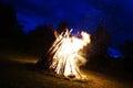 Big bonfire on the nighttime Royalty Free Stock Photo
