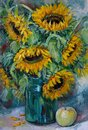 Big bouquet with sunflowers and an apple, oil painting Royalty Free Stock Photo