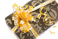 Big bow on present large golden a nice christmas Royalty Free Stock Image