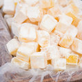 Big box of lemon turkish delight Royalty Free Stock Photo