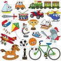 Big Boy Toy set, the collection of coloring book template, the group of outline digital elements Royalty Free Stock Photo