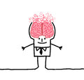 Big brain man bubbles hand drawn cartoon characters Royalty Free Stock Photos