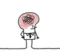 Big brain man confusion hand drawn cartoon characters Royalty Free Stock Image