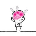 Big brain man headache hand drawn cartoon characters Stock Image