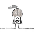 Big brain man pollution hand drawn cartoon characters Royalty Free Stock Images