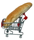 A big bread in a shopping cart on white background Royalty Free Stock Photos