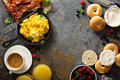 Big breakfast with bacon and scrambled eggs Royalty Free Stock Photo