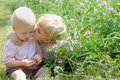 Big brother kisses baby a gives his a kiss on the cheek while they are picking flowers outside on a summer day Royalty Free Stock Image