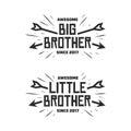 Big brother little brother typography print. Vector vintage illustration.