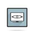 Big brother is watching you.  TV on white Royalty Free Stock Photo