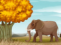A big brown elephant near the big tree illustration of Royalty Free Stock Photography