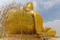 Big buddha image thailand s in repairing process at wat muang ang thong thailand Royalty Free Stock Photo