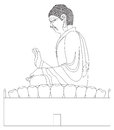 Big Buddha Sitting Statue Black and White Line Art Illustration Royalty Free Stock Photo