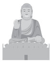 Big buddha sitting statue front grayscale vector illustration asian on lotus pad facing Stock Photo