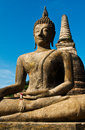 Big buddha statue historic site in sukhothai period thailand vertical image world heritage and the related historical city Royalty Free Stock Photos