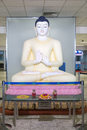 Big buddha statue located in the transit area at bandaranaike international airport colombo sri lanka february was unveiled Stock Image