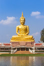 Big buddha statue sitting reflection on the water Royalty Free Stock Photo