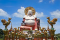 Big buddha temple koh samui thailand giant colorful statue at wat plai laem on Stock Image