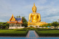 Big buddha in thailand temple of a morning day Royalty Free Stock Photo