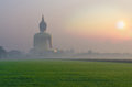 The big buddha at wat muang temple with fog and grass when sunrise angthong thailand Stock Images