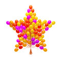 Big bunch of party balloons. Star shaped. Royalty Free Stock Photo