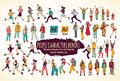 Big bundle people characters doodles color icons. Royalty Free Stock Photo