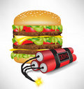 Big burger with exploding bomb Royalty Free Stock Photo