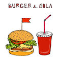 Big Burger, Hamburger or Cheeseburger and Soft Drink Soda or Cola. Fast food takeout icon. Takeaway food sign. Vector