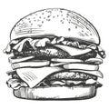Big burger, hamburger hand drawn vector illustration sketch retro style