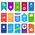 Big buttons flat web design elements icons templates for website Stock Images