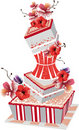 Big cake, birthday greetings, congratulation Stock Photos