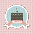 Big cake icon over label background vector illustration Royalty Free Stock Photography