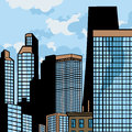 Big cartoon city comic book style illustrated with high buildings Royalty Free Stock Photos