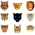Big cats heads vector set popular high detailed collection Royalty Free Stock Photos