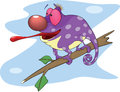 Big chameleon cartoon cheerful violet with a long tongue Royalty Free Stock Image