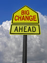 Big change ahead roadsign conceptual warning sign over storm sky Royalty Free Stock Image
