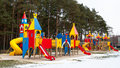 Big children playground site various equipment winter Stock Photos