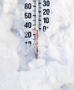 The big chill a thermometer in a snow bank Stock Photos
