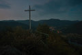 Big Christian cross on the way to Mlynaruv kamen lookout to valley of european river Labe  in Czech central mountains tourist area Royalty Free Stock Photo