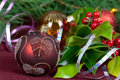 Big Christmas  baubles and candles on dark Stock Photography