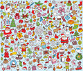 Big christmas collection fine small hand drawn illustrations individual icons grouped version illustration eps mode Stock Image