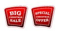 Big christmas sale and special christmas offer on retro red bann text banners with snowflakes signs style business holiday concept Royalty Free Stock Image