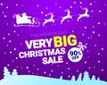 Big Christmas sale. Vector banner with Santa Claus and deers flying up the forest on the purple background. Stocking Royalty Free Stock Photo