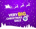 Big Christmas sale. Vector banner with Santa Claus and deers flying up the forest. Stocking element christmas Royalty Free Stock Photo