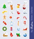 Big Christmas Stickers Collection. Cute cartoon characters and holidays elements.