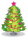 A big christmas tree with many decorations illustration of on white background Royalty Free Stock Photo