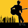 Big city blues guitar concert poster or flyer for an acoustic gig Royalty Free Stock Photo