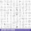 100 big city icons set, outline style