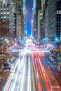 Big City lights and traffic - New York City night Royalty Free Stock Photo